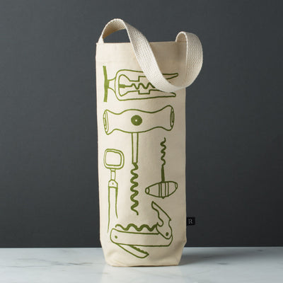 wine gift bag tote canvas modern graphic print corkscrews green