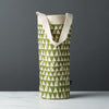 wine gift bag tote canvas retro modern print zigzag green
