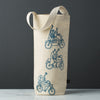 Wine gift bag tote canvas modern graphic print motorbikes blue