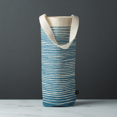 wine gift bag tote canvas modern graphic print stripes blue