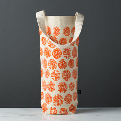 wine gift bag tote canvas modern graphic print circles orange
