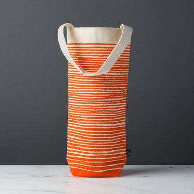 wine gift bag tote canvas modern graphic print stripes orange