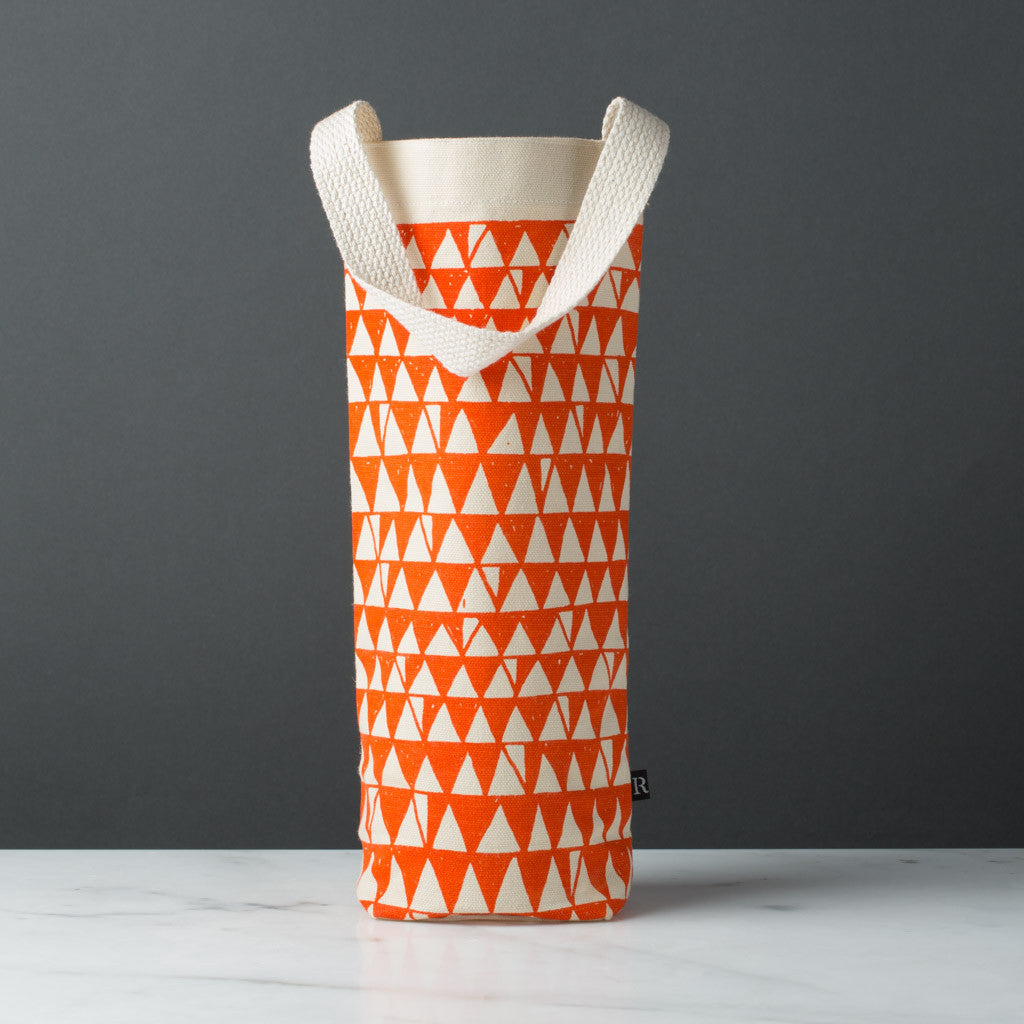 wine gift bag tote canvas retro modern print zigzag orange
