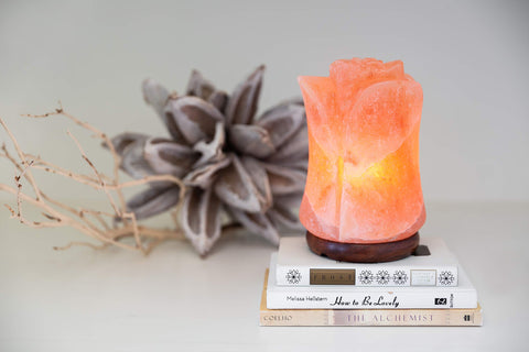 Natural Hand Carved Flower Himalayan Salt Lamp