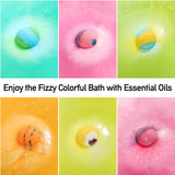 Bath bombs fizz colours