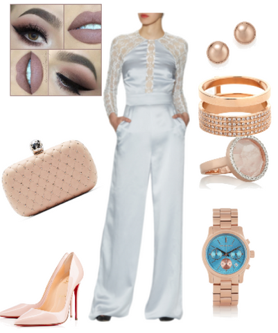 Temperley London Jumpsuit rose gold accessories jewelry clutch christian louboutin pumps heels michael kors watch fashion trends 2016