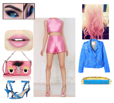 Loeffler Randall stillettos pink blue rose blonde to pink ombre hair curls metallic blue leather jacket rock and roll 80s fashion trends 2016