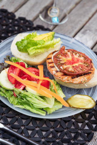 Salmon Burger with the fixings