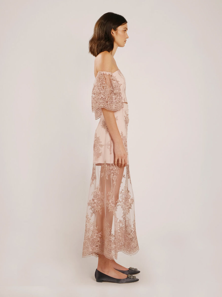 Theresa Pale Pink Embroidered