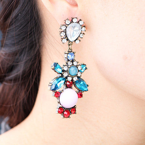 Crystal Palace Earrings - Blue - Statement Earrings -   - 3