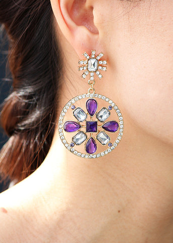 Purple Diamour Earrings - Statement Earrings -   - 3