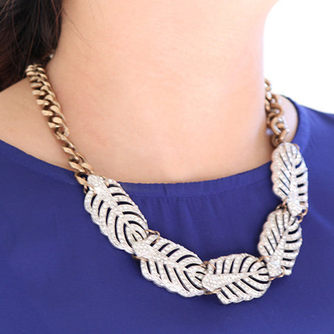 Finny Feathers Diamond Necklace - Statement Necklace -   - 4