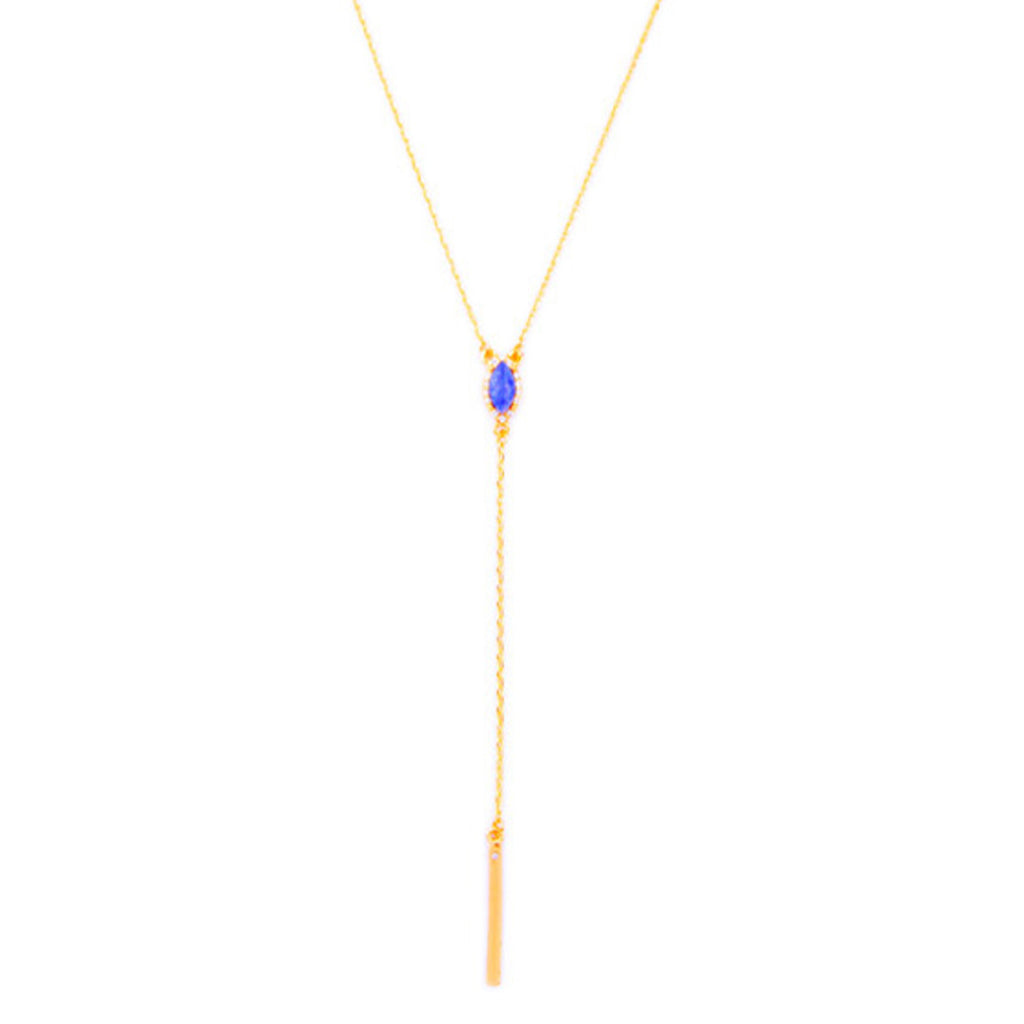 Paved Gem Y Necklace - Long Necklace -   - 1