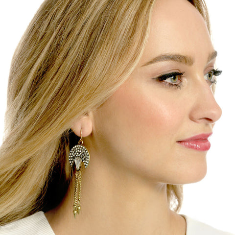 Crystal Peacock Earrings - Statement Earrings -   - 3