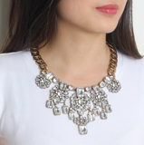 Crystal pompon Necklace - Statement Necklace -   - 2