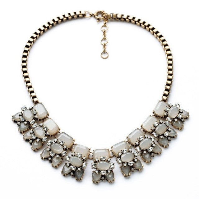 Opel Dream Necklace - Statement Necklace -  Light Grey - 1