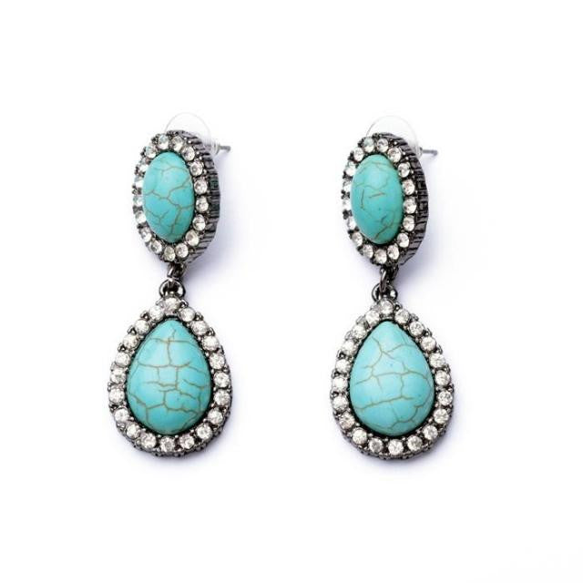Twin Turquoise Earrings - Statement Earrings -   - 1