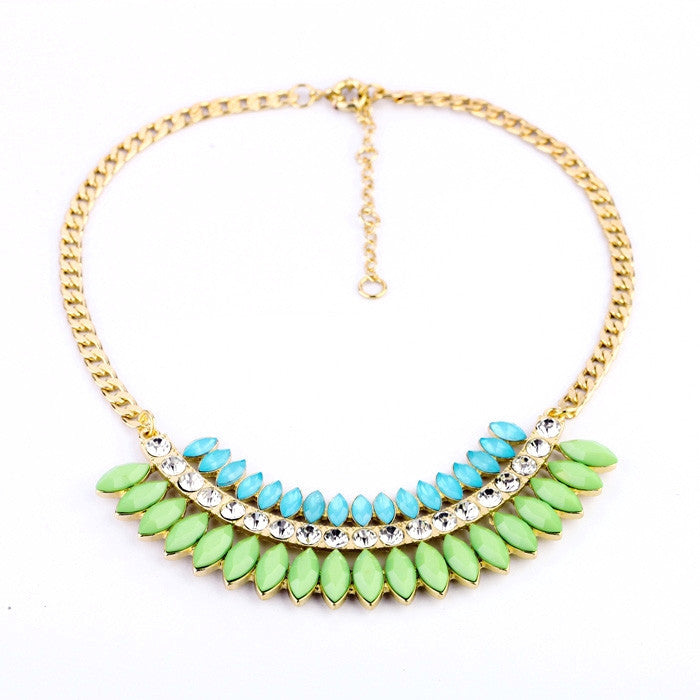 Minty Tropic Necklace - Collar Necklace -   - 1