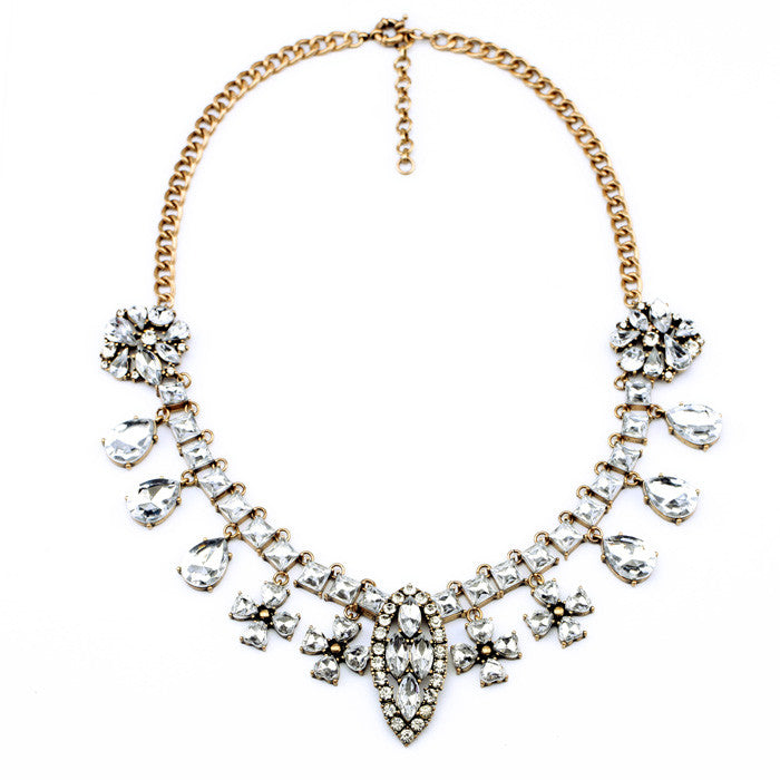 Crystal Cross Necklace - Statement Necklace -   - 1