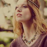 Iridescent Floral Necklace - Statement Necklace -   - 2