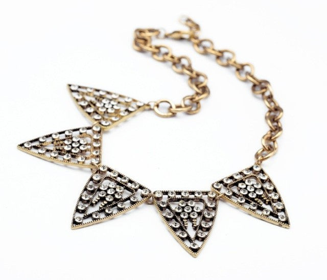 Pyramid Sparkle Necklace - Collar Necklace -   - 2