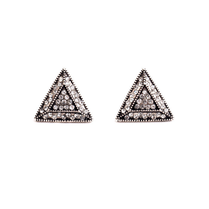 Pyramid Ornate Stud Earrings - Stud Earrings -   - 1