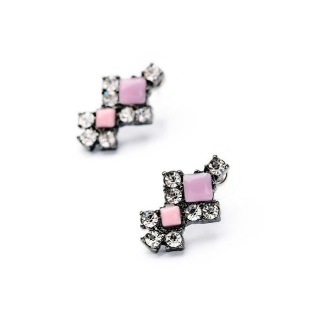 Pink Aced Earrings - Stud Earrings -   - 2