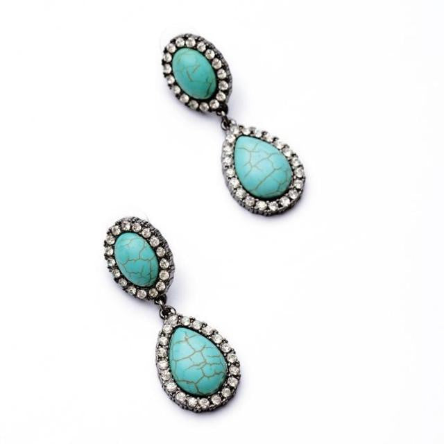 Twin Turquoise Earrings - Statement Earrings -   - 2
