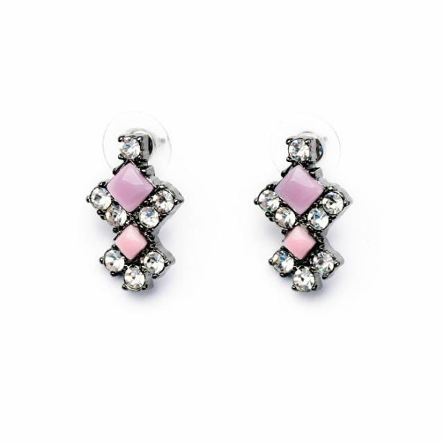 Pink Aced Earrings - Stud Earrings -   - 1