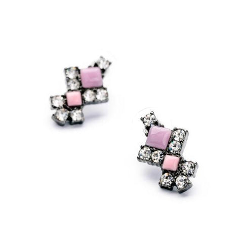 Pink Aced Earrings - Stud Earrings -   - 3