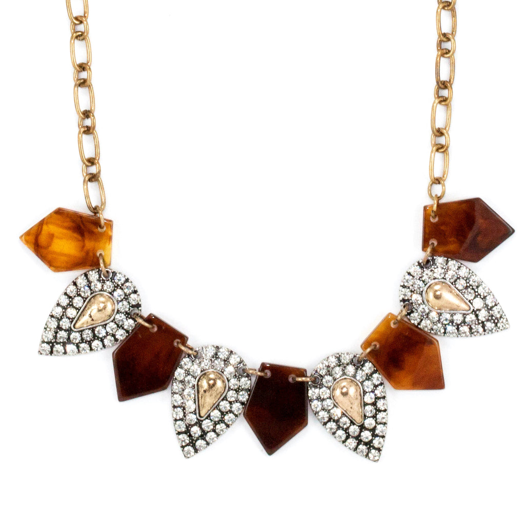 Tortoise Paved Bib Necklace - Collar Necklace -   - 2