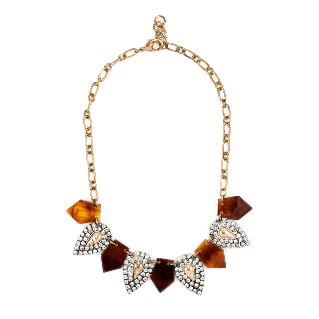 Tortoise Paved Bib Necklace - Collar Necklace -   - 1
