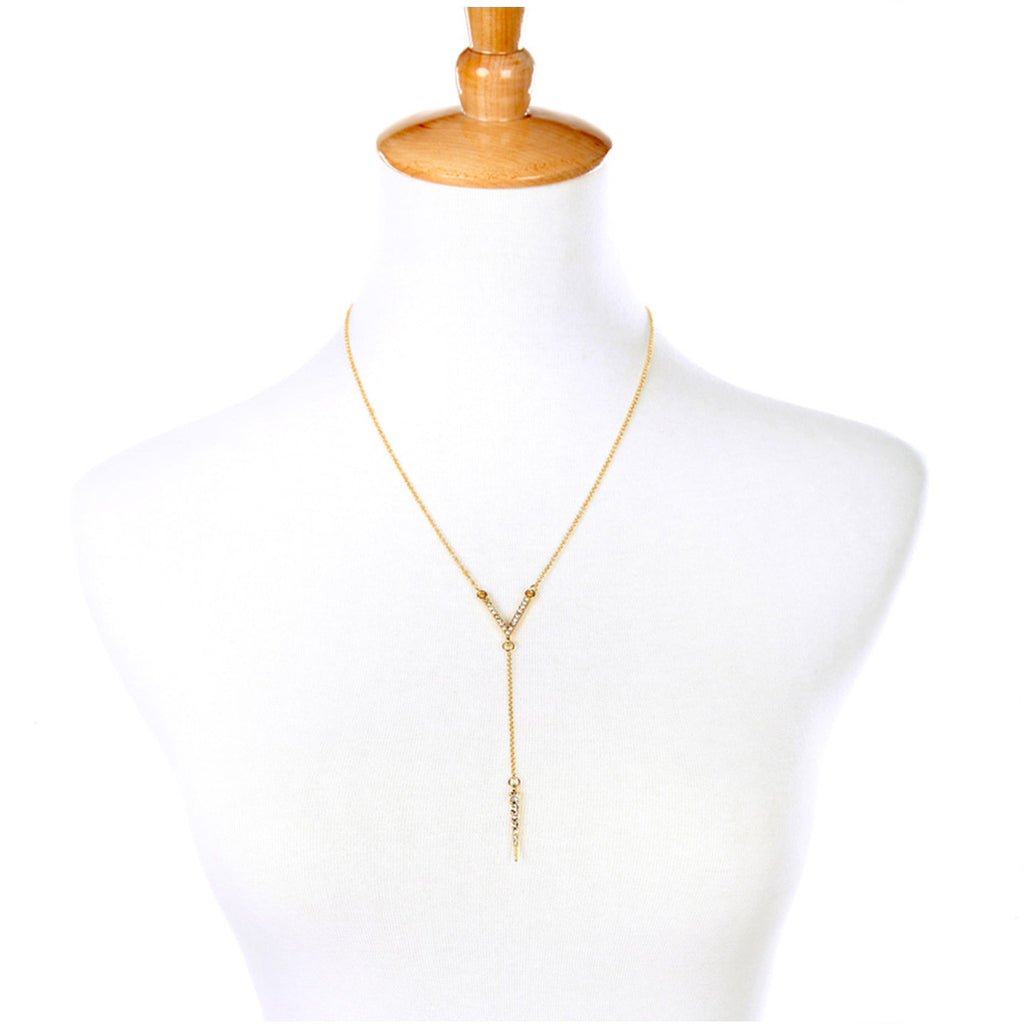 Paved Victory Y necklace - Long Necklace -   - 3