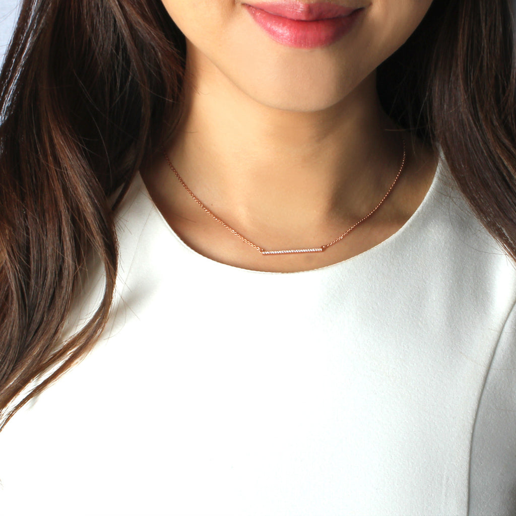 Simple Rose Gold Bar Necklace - Delicate Necklace -   - 3