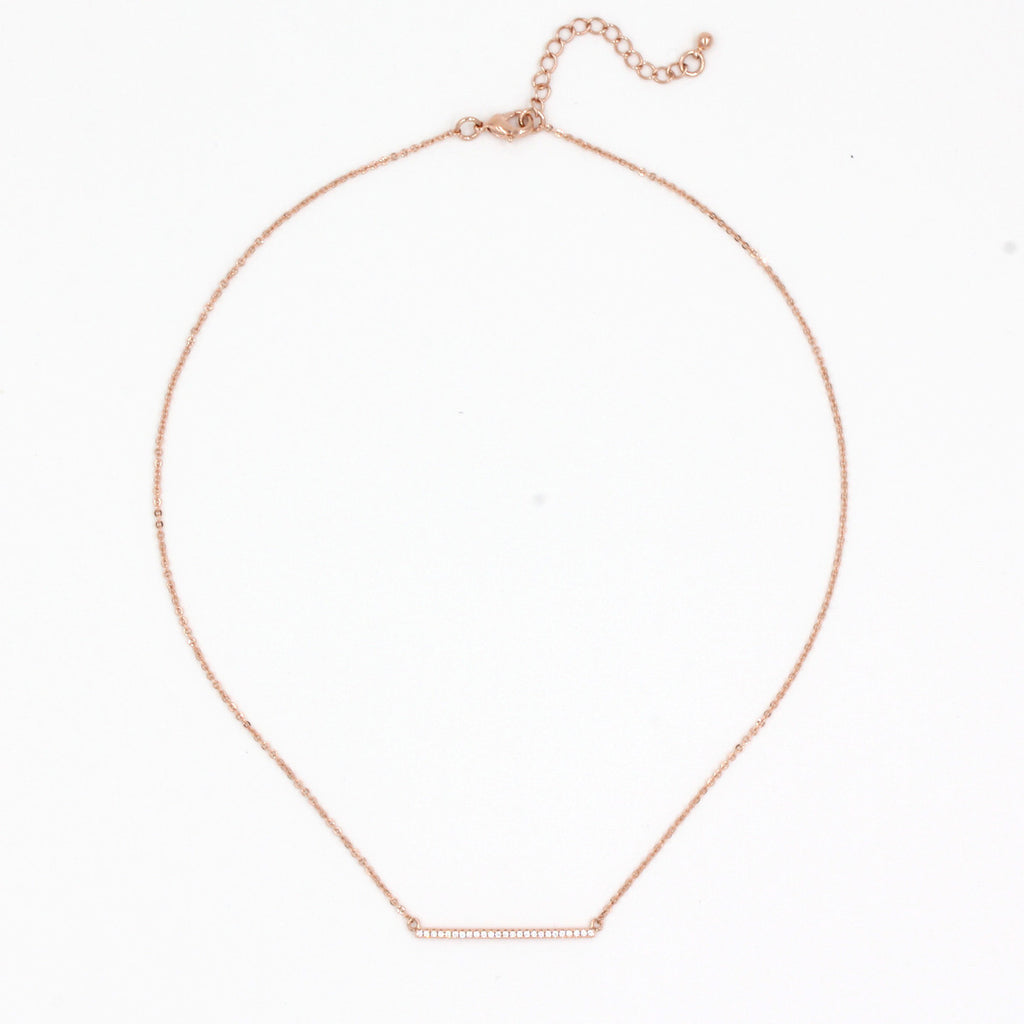 Simple Rose Gold Bar Necklace - Delicate Necklace -   - 2