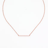 Simple Rose Gold Bar Necklace - Delicate Necklace -   - 1