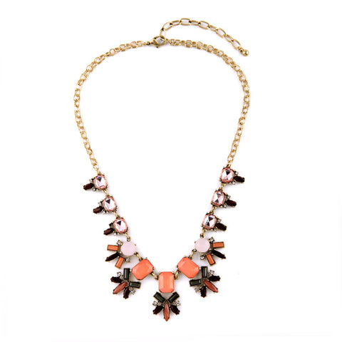Blush Bib Necklace - Statement Necklace -