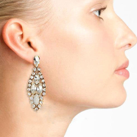 Crystal Tree Earrings - Statement Earrings -   - 3