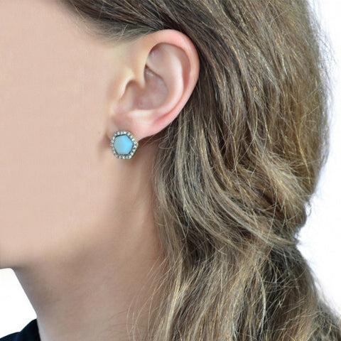 Cubic Blue Stud Earrings - Stud Earrings -   - 2