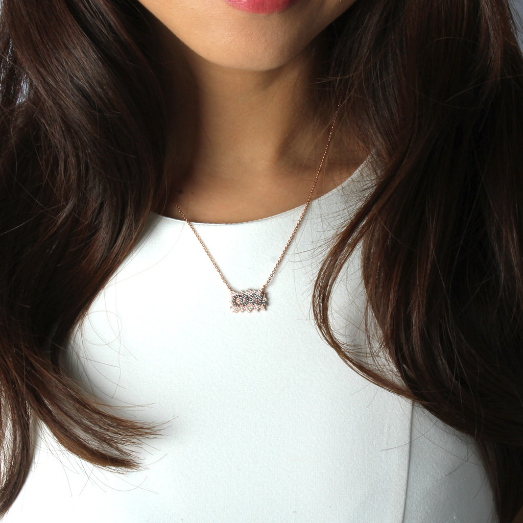 Cooler than Cool Micro Paved Necklace - Delicate Necklace -   - 3