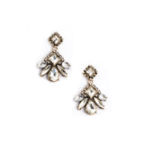 Crystal Pompon Earrings - Statement Earrings -   - 1