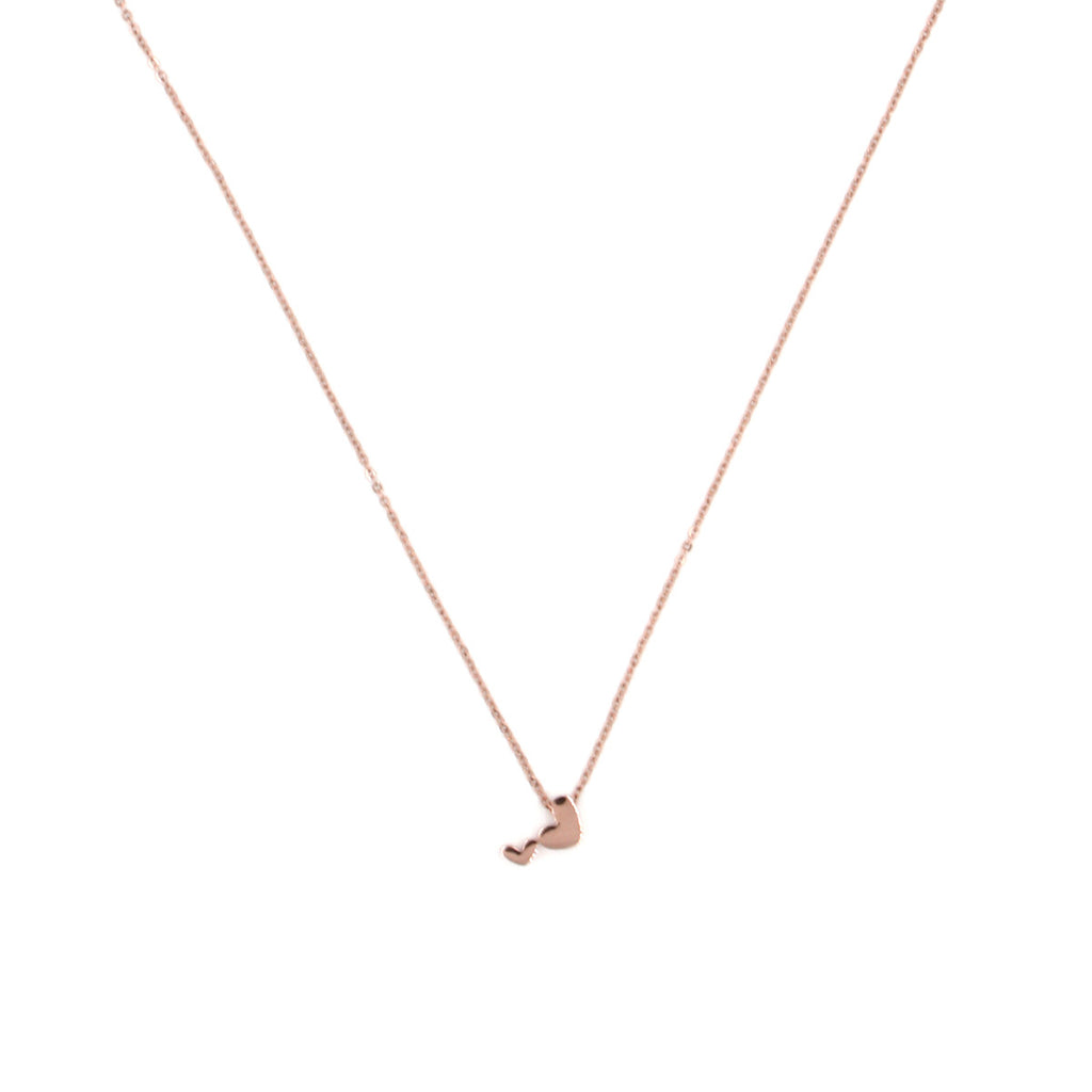Duo Hearts Rose Gold Necklace - Delicate Necklace -