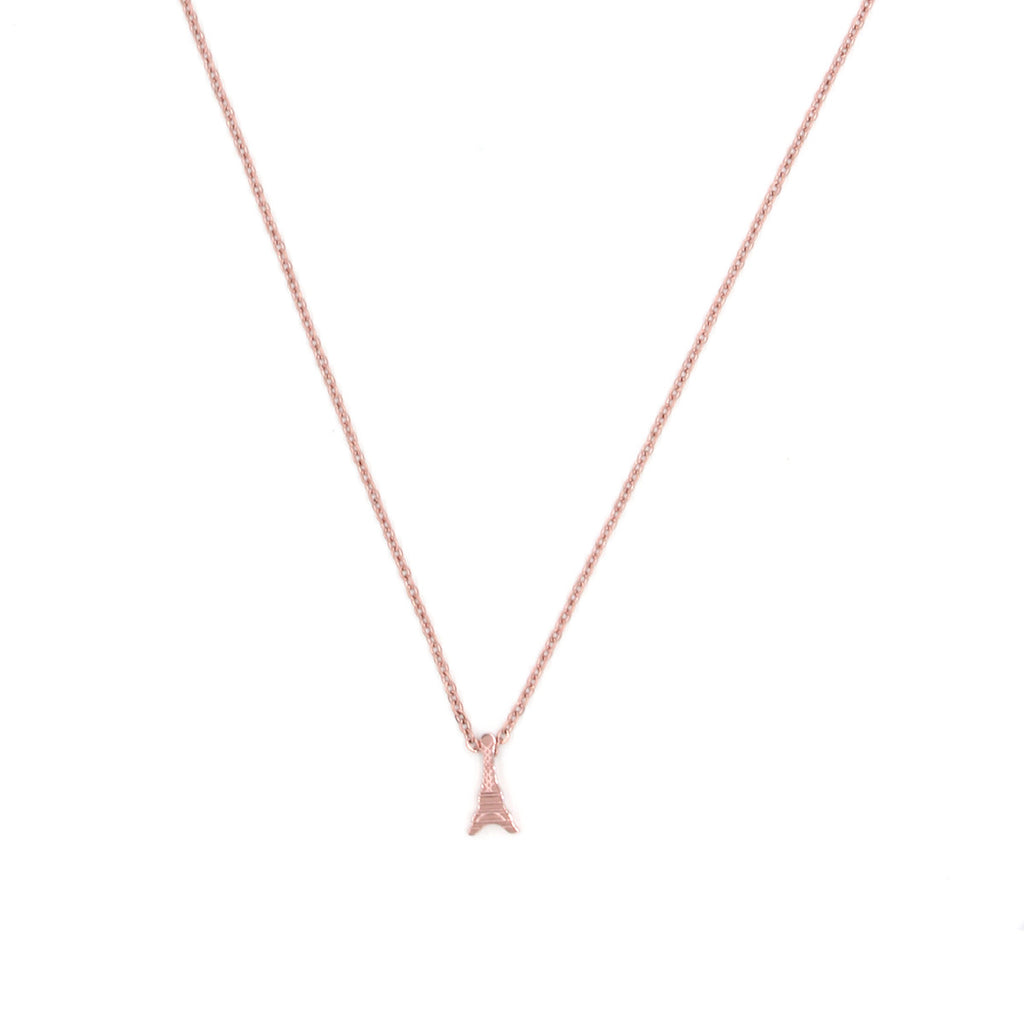 Eiffel Tower Rose Gold Necklace - Delicate Necklace -   - 1