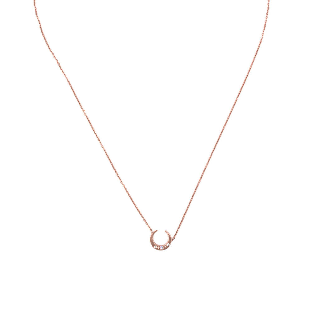 Crescent Moon Rose Gold Necklace - Delicate Necklace -   - 1