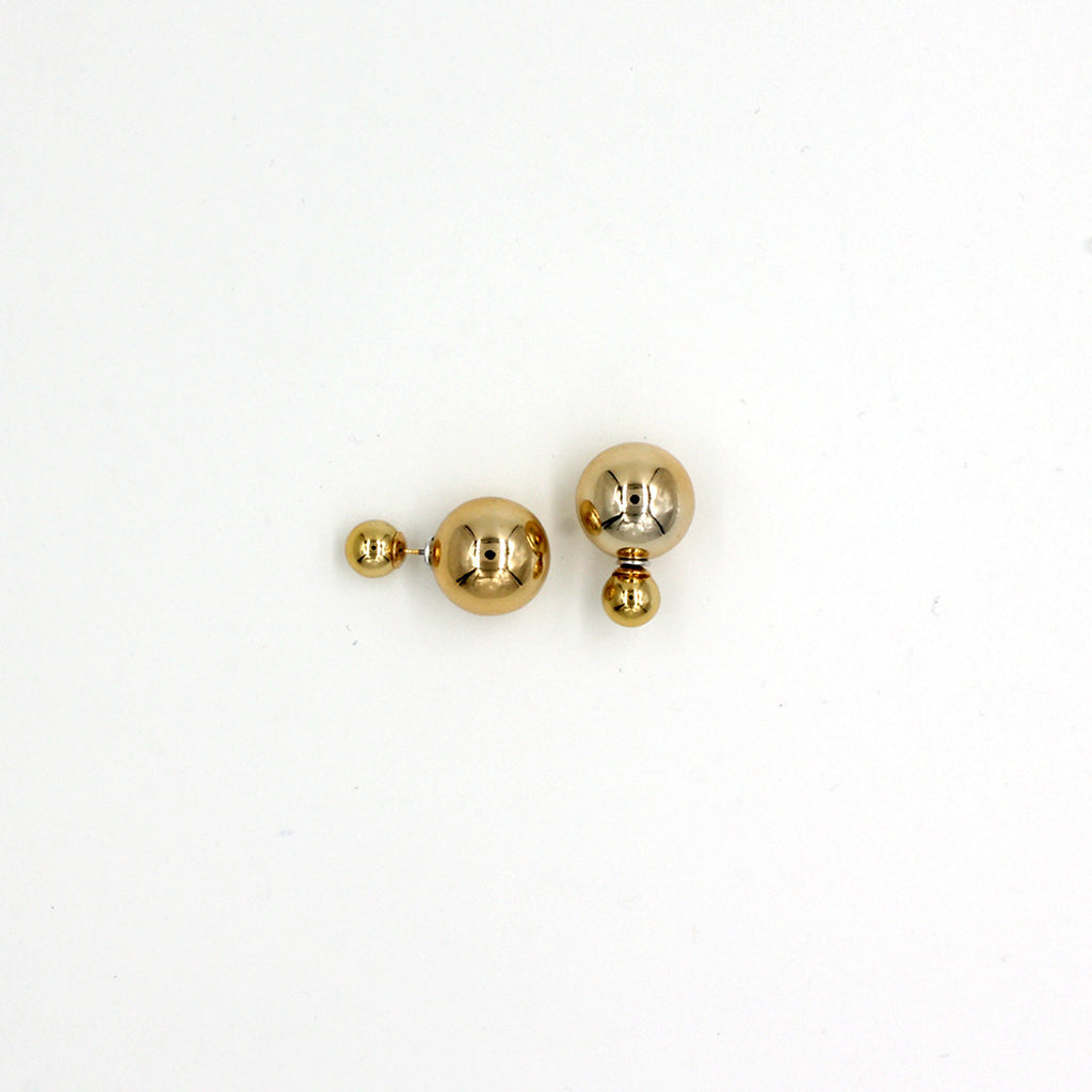 Double Pearl Stud Earrings - Stud Earrings -  Gold - 2