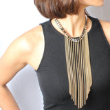 French-Fringe Collar Necklace - Statement Necklace -   - 3