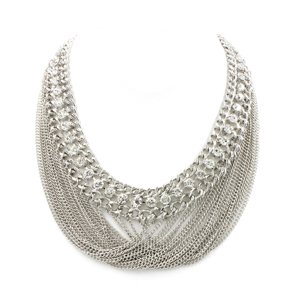 Lucy Bib Chain Necklace - Statement Necklace -  Silver - 1