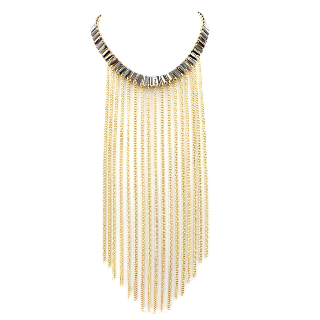 French-Fringe Collar Necklace - Statement Necklace -  Gold - 2