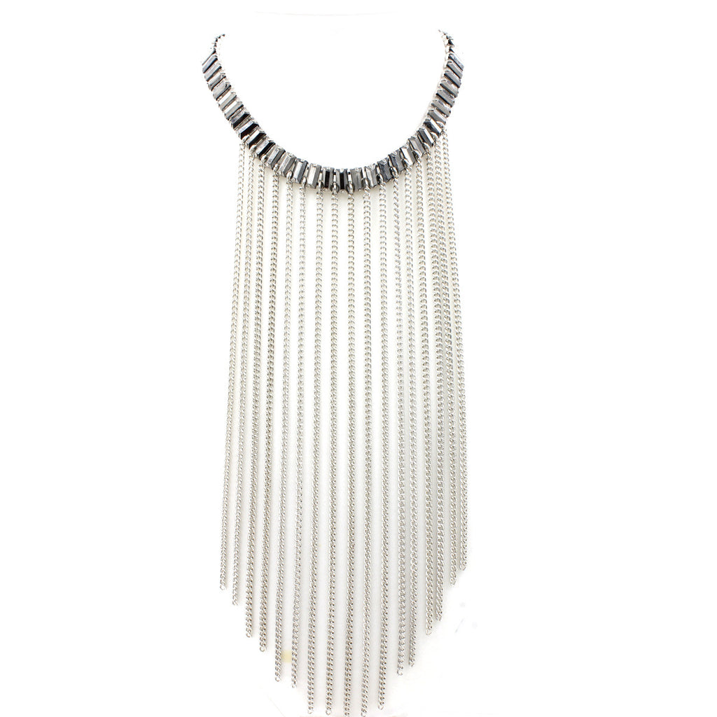 French-Fringe Collar Necklace - Statement Necklace -  Silver - 1