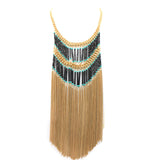 Boho Fringe Necklace - Statement Necklace -  Gold - 2